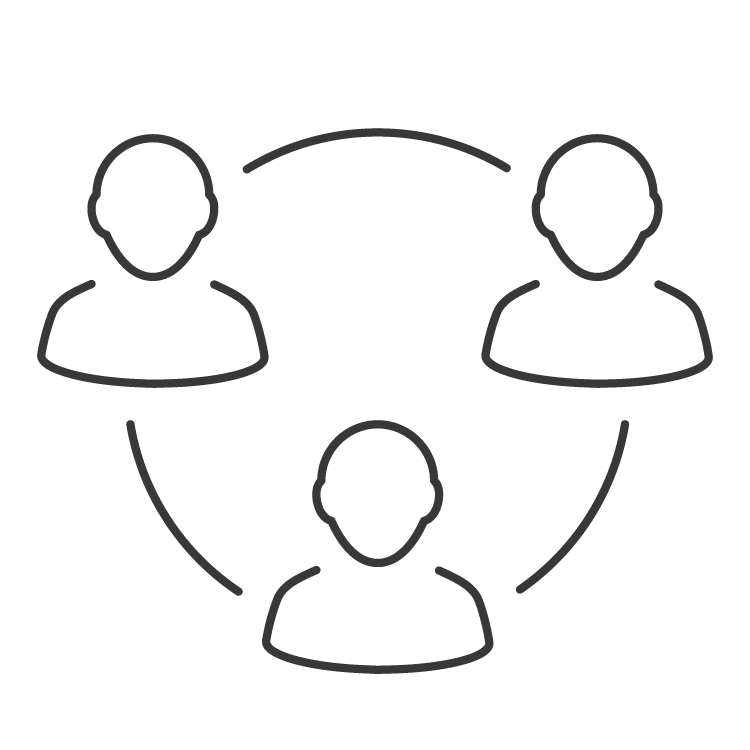 line icon of The Professional Centre community in a circle symbol