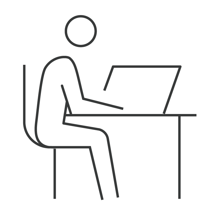 Worker sitting at coworking desk with laptop icon for The Professional Centre