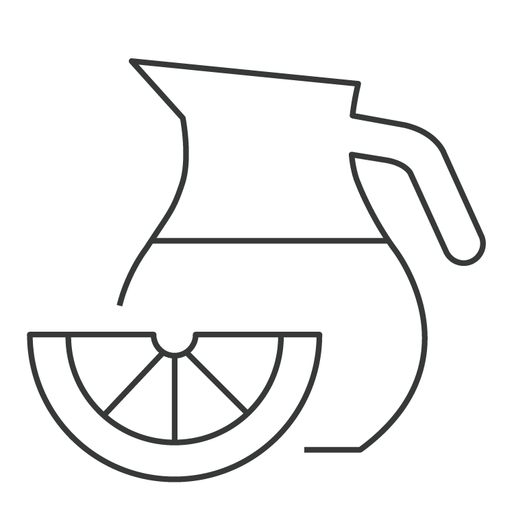 line icon of jug of infused water with lemon