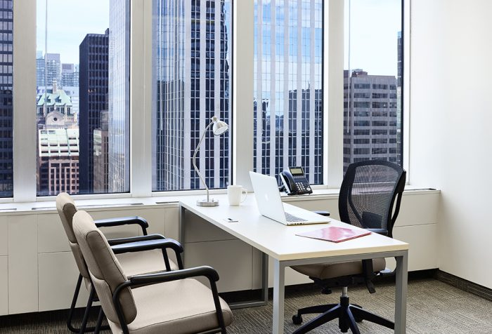 Executive office for rent in Toronto with south view
